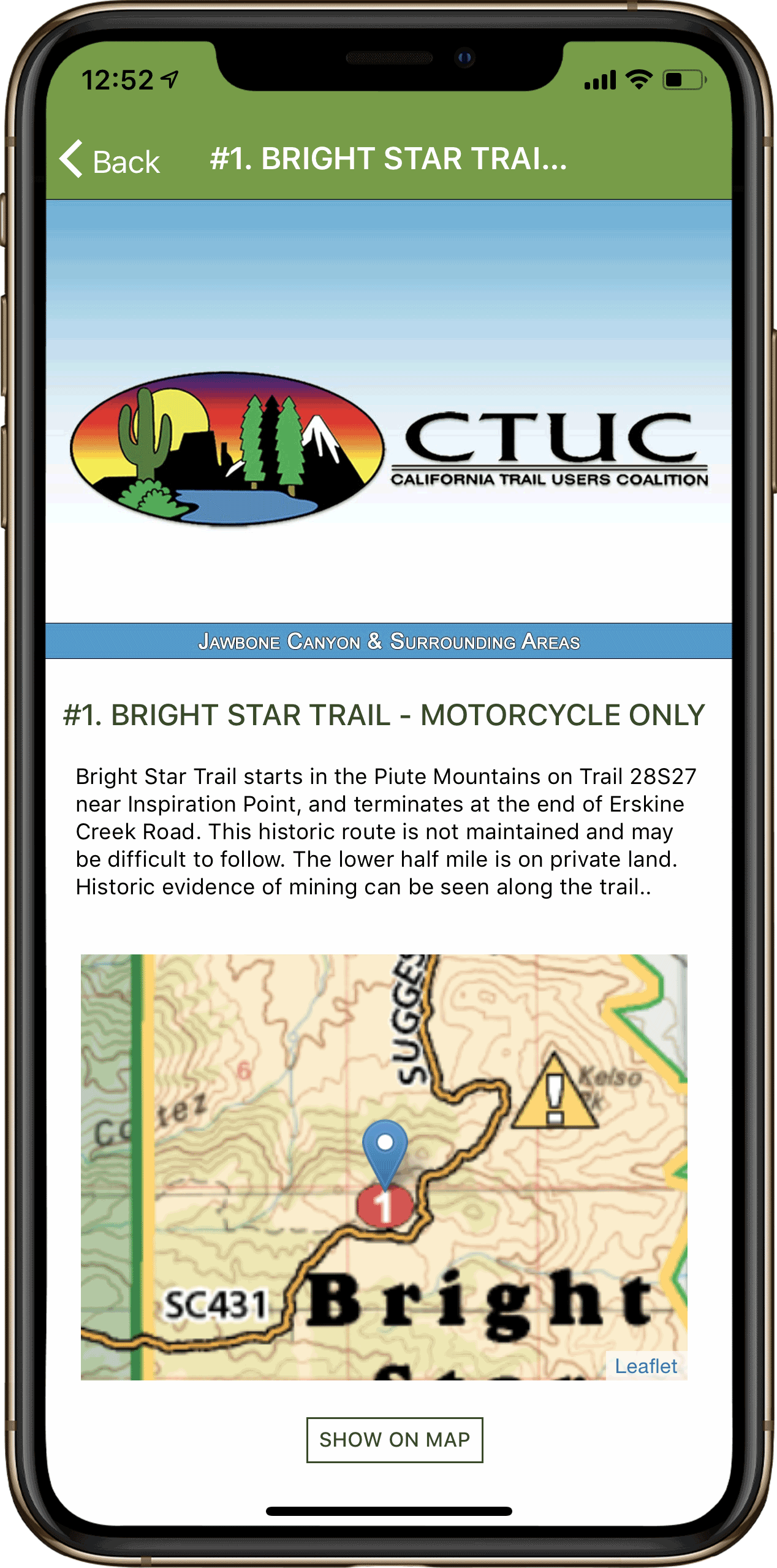 This is a screenshot of a Discovery Point screen in the OHV Trail Map California Application.
